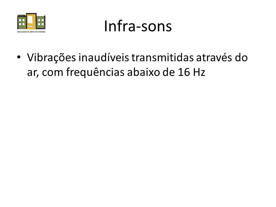 Infra-sons Vibrações inaudíveis transmitidas através do ar, com frequências abaixo de 16 Hz