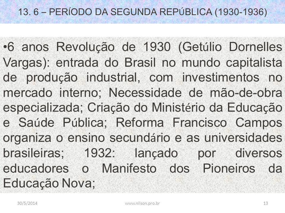 13. 6 – PER Í ODO DA SEGUNDA REP Ú BLICA (1930-1936) 6 anos Revolu ç ão de 1930 (Get ú lio Dornelles Vargas): entrada do Brasil no mundo capitalista d