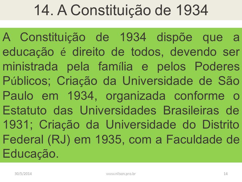 14. A Constitui ç ão de 1934 A Constitui ç ão de 1934 dispõe que a educa ç ão é direito de todos, devendo ser ministrada pela fam í lia e pelos Podere