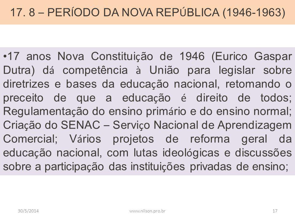 17. 8 – PER Í ODO DA NOVA REP Ú BLICA (1946-1963) 17 anos Nova Constitui ç ão de 1946 (Eurico Gaspar Dutra) d á competência à União para legislar sobr