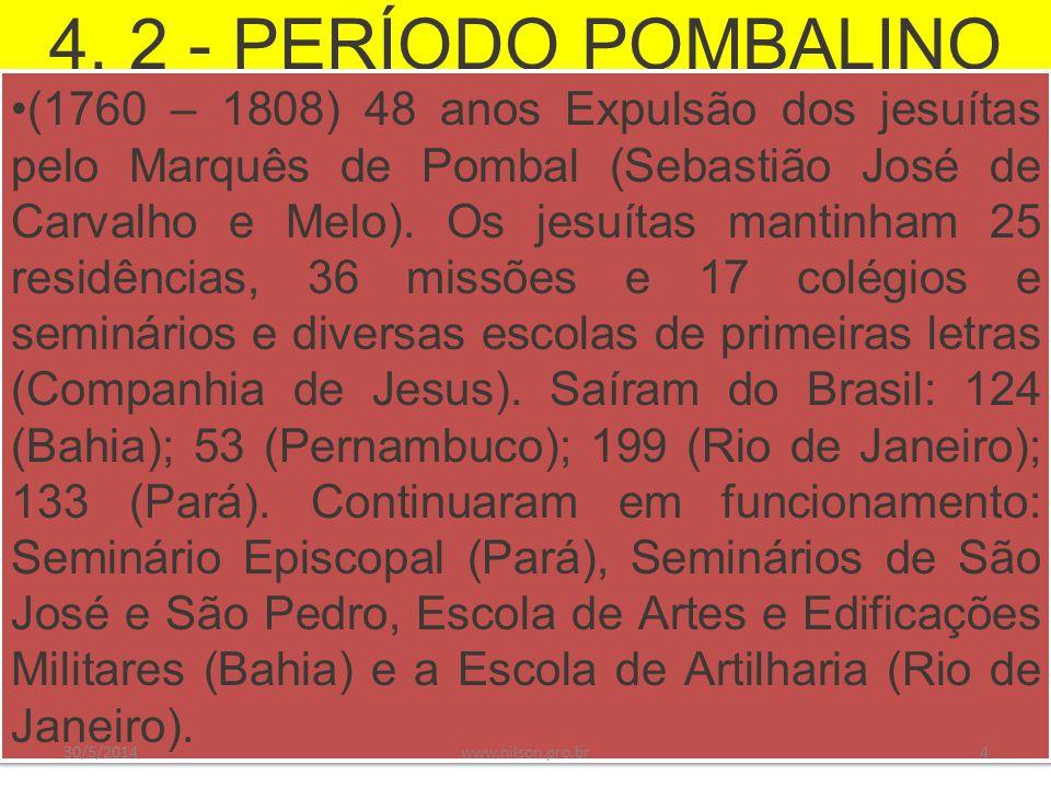 4. 2 - PERÍODO POMBALINO (1760 – 1808) 48 anos Expulsão dos jesuítas pelo Marquês de Pombal (Sebastião José de Carvalho e Melo). Os jesuítas mantinham