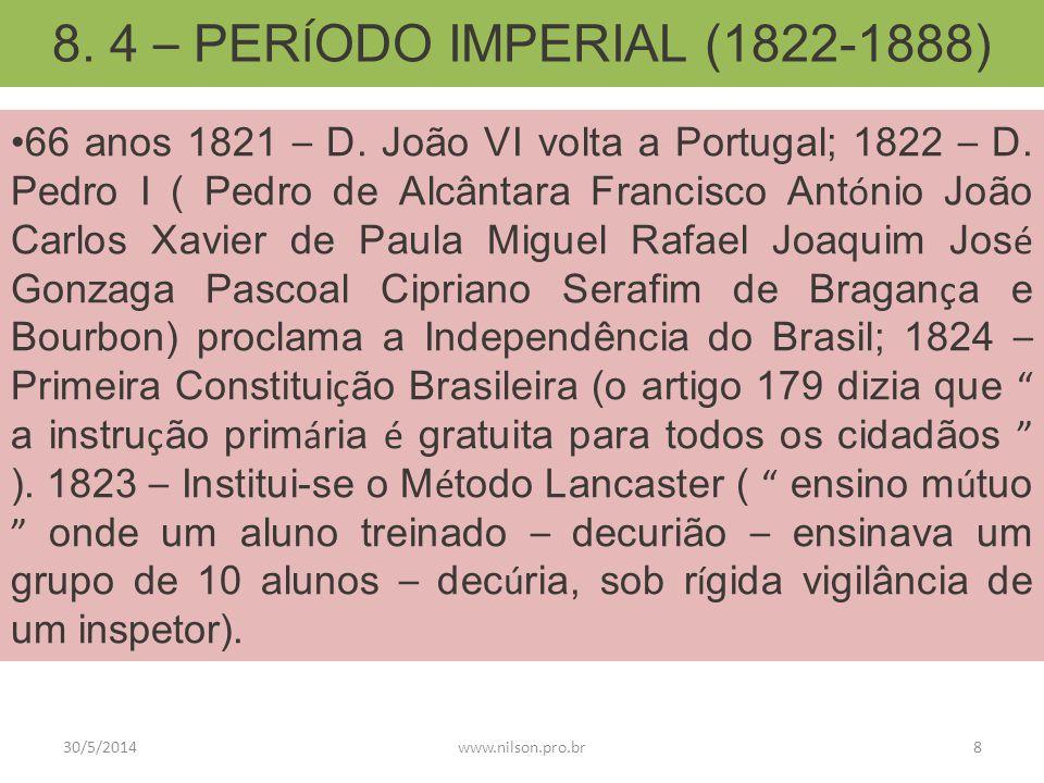 8. 4 – PER Í ODO IMPERIAL (1822-1888) 66 anos 1821 – D. João VI volta a Portugal; 1822 – D. Pedro I ( Pedro de Alcântara Francisco Ant ó nio João Carl