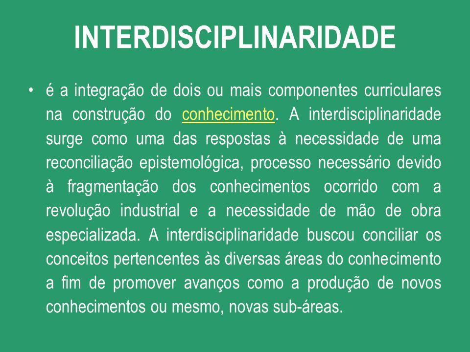 é a integração de dois ou mais componentes curriculares na construção do conhecimento. A interdisciplinaridade surge como uma das respostas à necessid