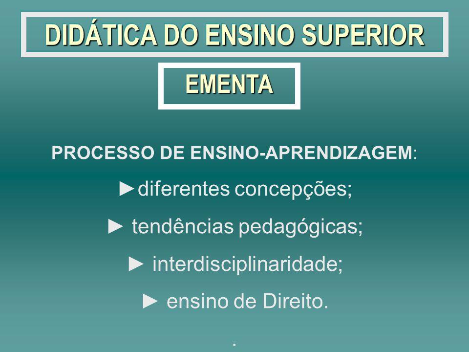 DIDÁTICA DO ENSINO SUPERIOR PROCESSO DE ENSINO-APRENDIZAGEM: diferentes concepções; tendências pedagógicas; interdisciplinaridade; ensino de Direito..