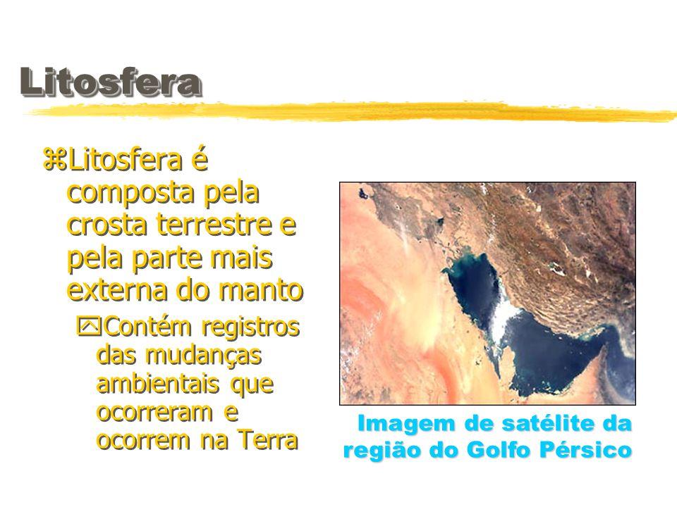 LitosferaLitosfera zLitosfera é composta pela crosta terrestre e pela parte mais externa do manto yContém registros das mudanças ambientais que ocorre