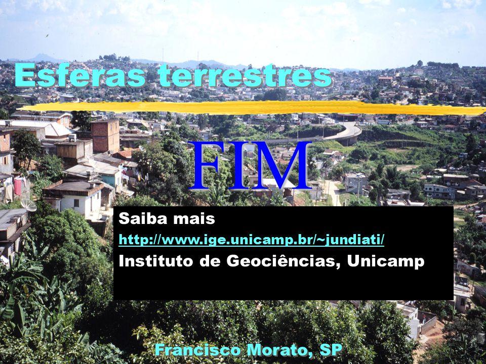 Esferas terrestres Saiba mais http://www.ige.unicamp.br/~jundiati/ Instituto de Geociências, Unicamp Francisco Morato, SP FIM