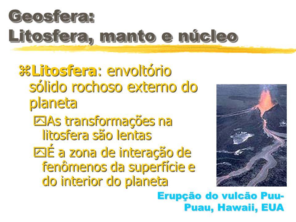 Geosfera: Litosfera, manto e núcleo zLitosfera: envoltório sólido rochoso externo do planeta yAs transformações na litosfera são lentas yÉ a zona de i