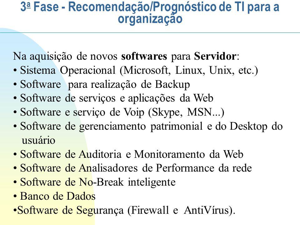 Na aquisição de novos softwares para Servidor: Sistema Operacional (Microsoft, Linux, Unix, etc.) Software para realização de Backup Software de servi
