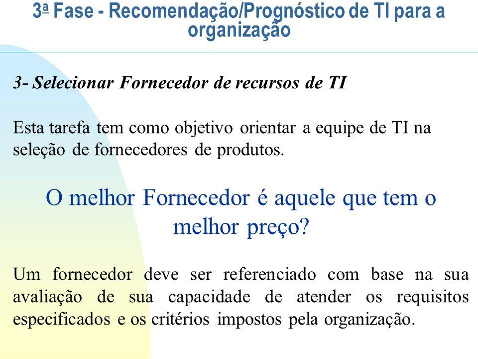3- Selecionar Fornecedor de recursos de TI Esta tarefa tem como objetivo orientar a equipe de TI na seleção de fornecedores de produtos. O melhor Forn