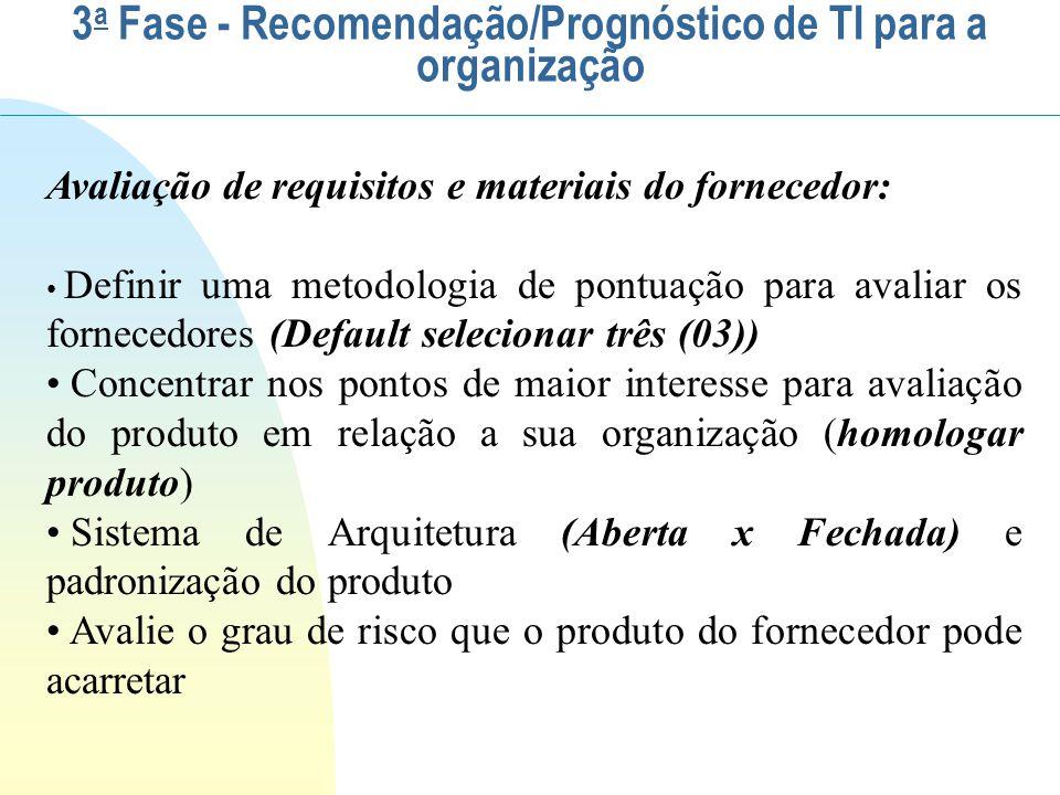 Avaliação de requisitos e materiais do fornecedor: Definir uma metodologia de pontuação para avaliar os fornecedores (Default selecionar três (03)) Co