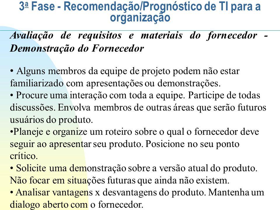 Avaliação de requisitos e materiais do fornecedor - Demonstração do Fornecedor Alguns membros da equipe de projeto podem não estar familiarizado com a
