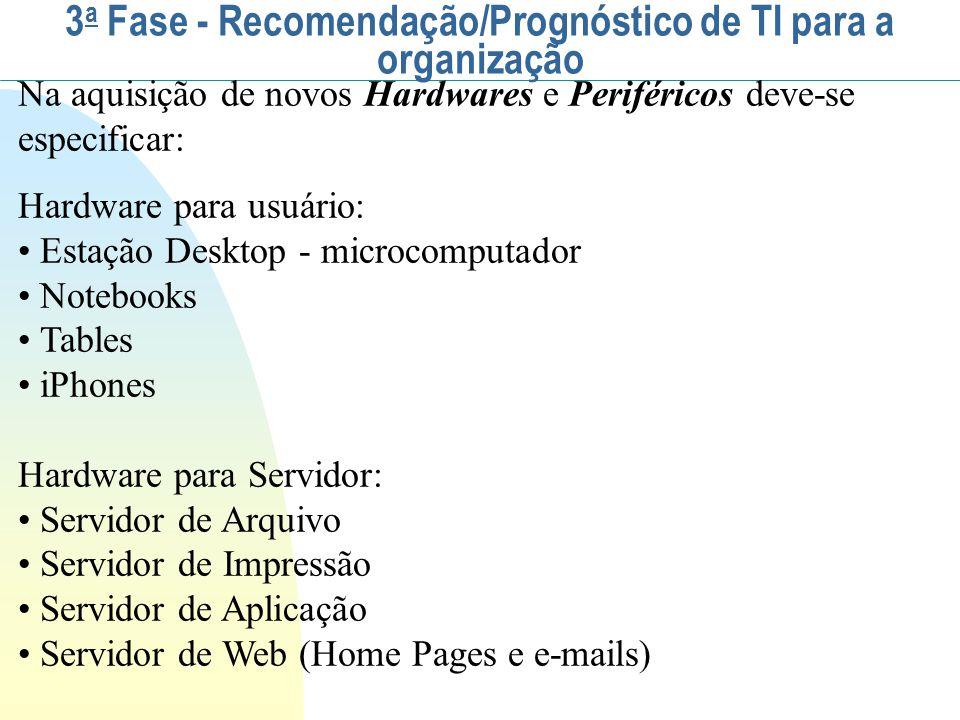 Na aquisição de novos Hardwares e Periféricos deve-se especificar: Hardware para usuário: Estação Desktop - microcomputador Notebooks Tables iPhones H