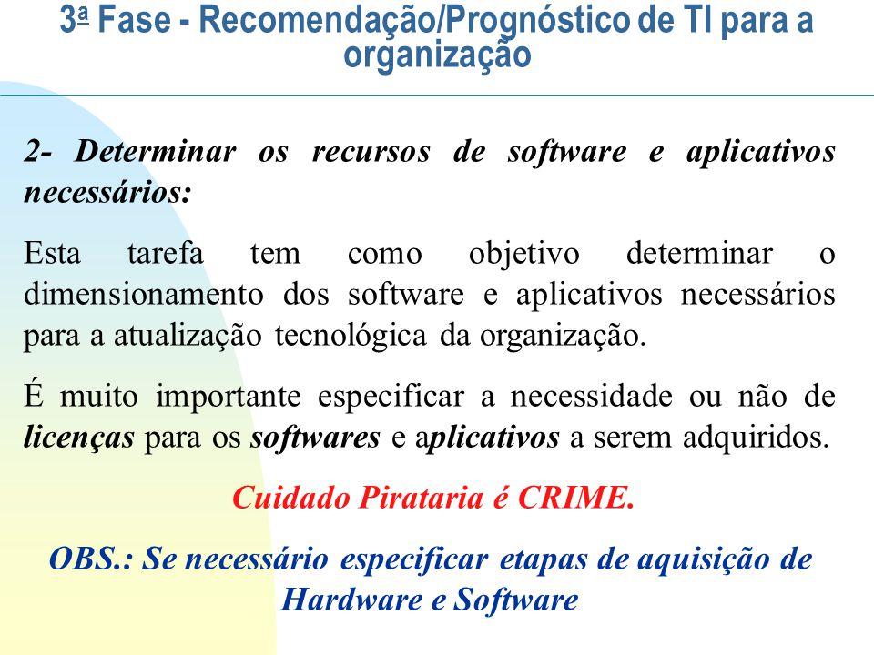 Na seleção de Software deve-se especificar: A aquisição de novos Softwares e Aplicativos para: Estação Desktops - microcomputadores Dos usuários Da produção Servidores Treinamento e/ou reuniões virtuais, etc.