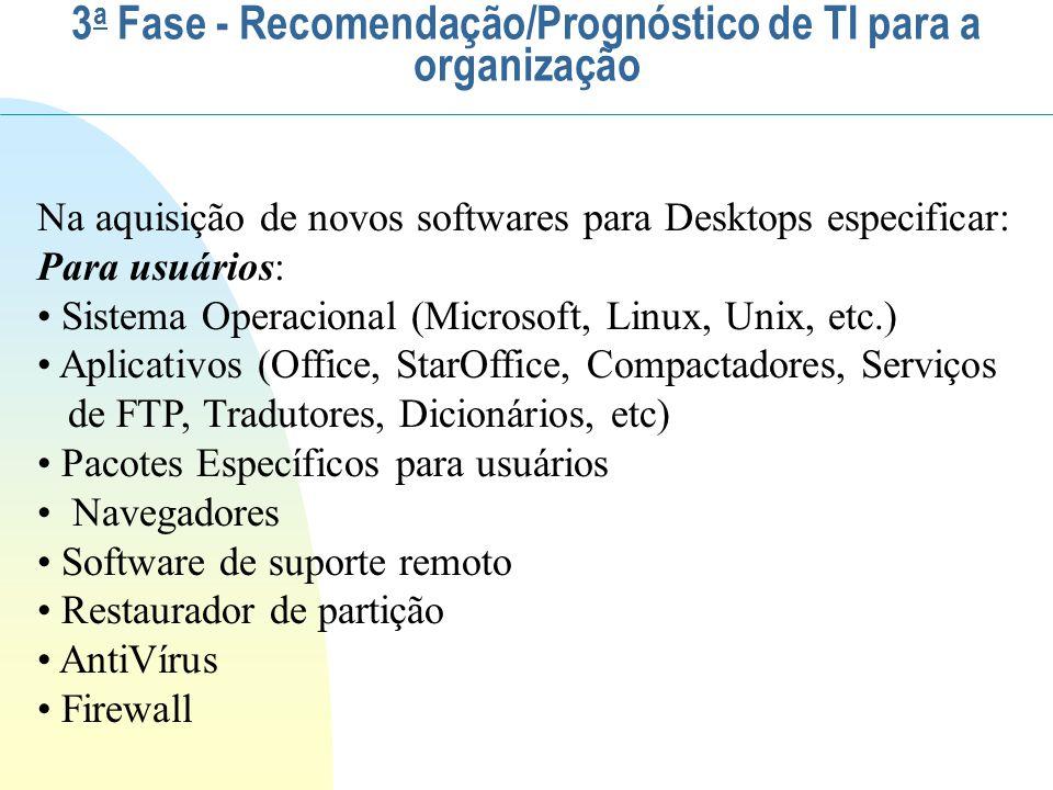 Na aquisição de novos softwares para Desktops especificar: Para usuários: Sistema Operacional (Microsoft, Linux, Unix, etc.) Aplicativos (Office, Star
