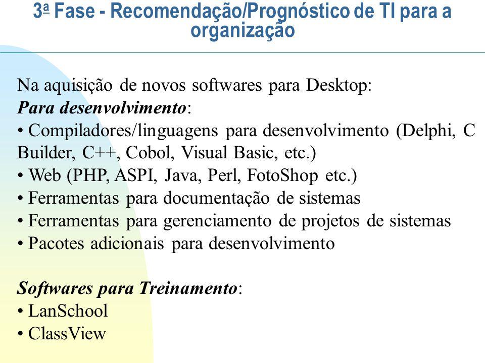 Na aquisição de novos softwares para Desktop: Para desenvolvimento: Compiladores/linguagens para desenvolvimento (Delphi, C Builder, C++, Cobol, Visua