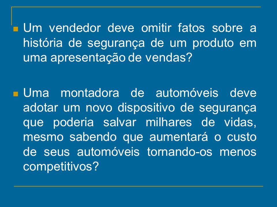 Um vendedor deve omitir fatos sobre a história de segurança de um produto em uma apresentação de vendas? Uma montadora de automóveis deve adotar um no