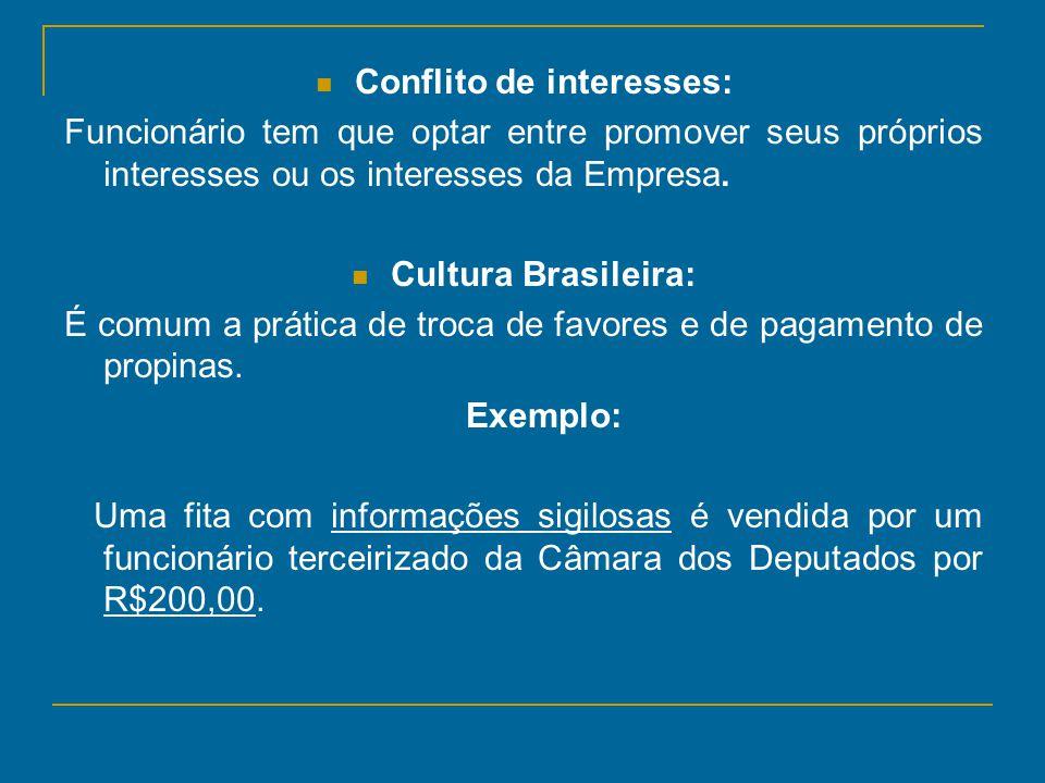 Conflito de interesses: Funcionário tem que optar entre promover seus próprios interesses ou os interesses da Empresa. Cultura Brasileira: É comum a p