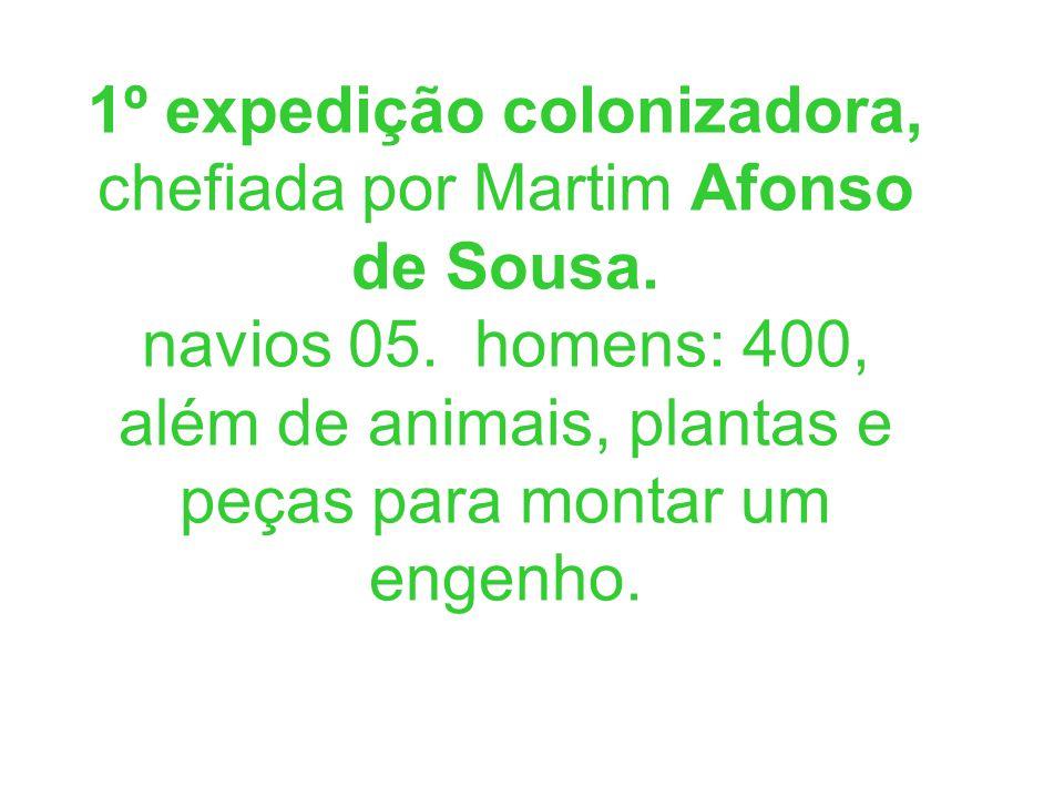 1º expedição colonizadora, chefiada por Martim Afonso de Sousa. navios 05. homens: 400, além de animais, plantas e peças para montar um engenho.