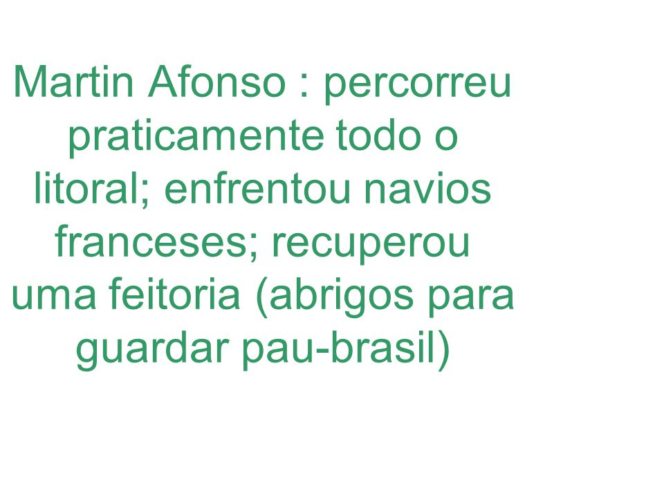 Martin Afonso : percorreu praticamente todo o litoral; enfrentou navios franceses; recuperou uma feitoria (abrigos para guardar pau-brasil)