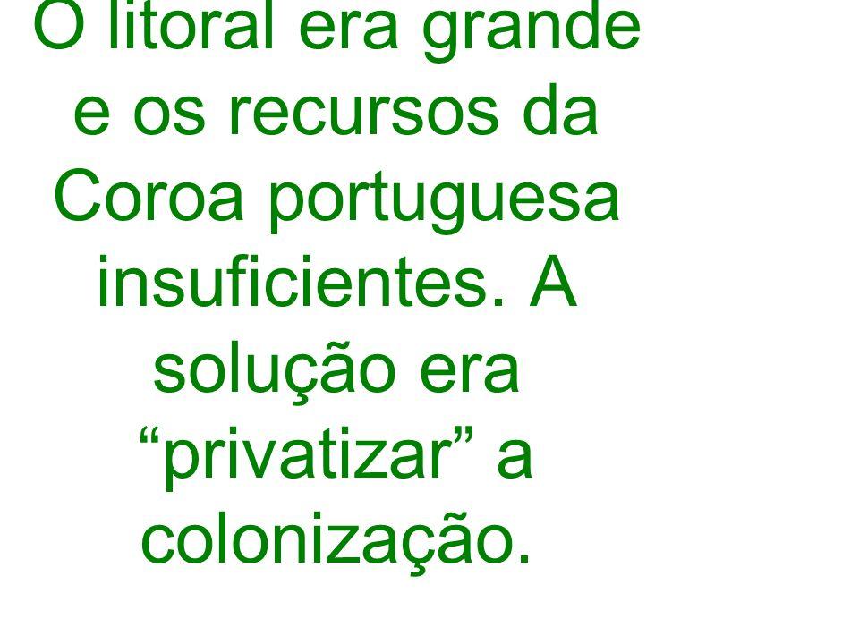 O litoral era grande e os recursos da Coroa portuguesa insuficientes. A solução era privatizar a colonização.