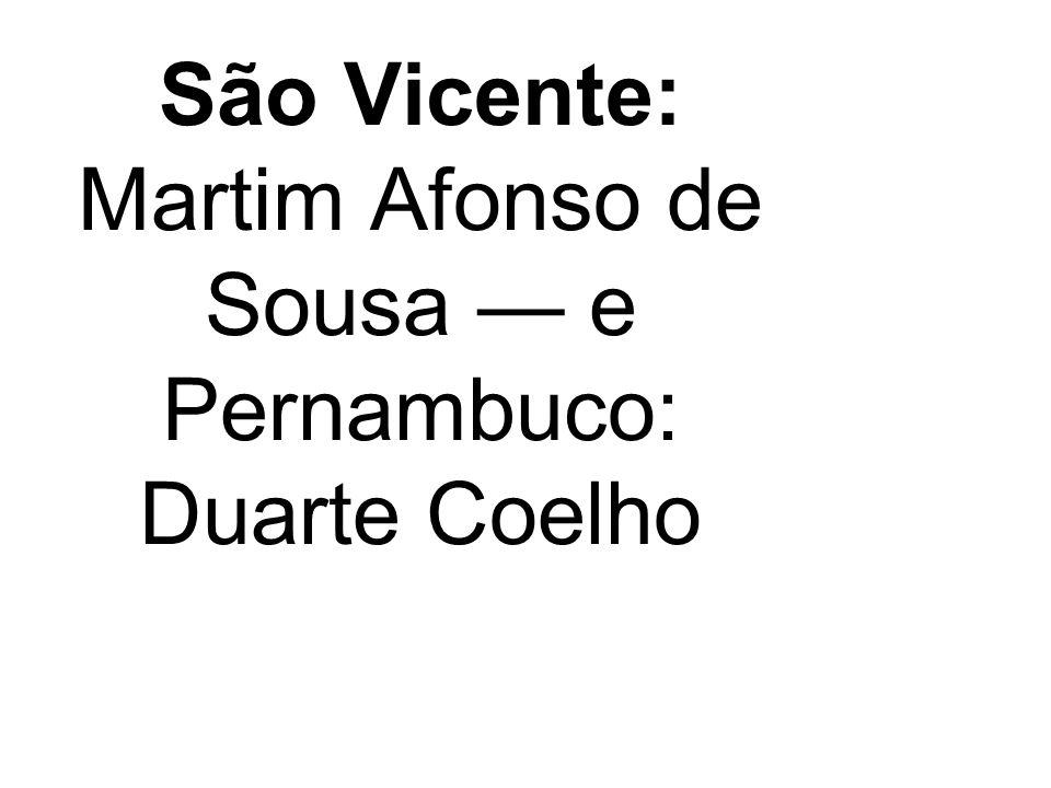 São Vicente: Martim Afonso de Sousa e Pernambuco: Duarte Coelho