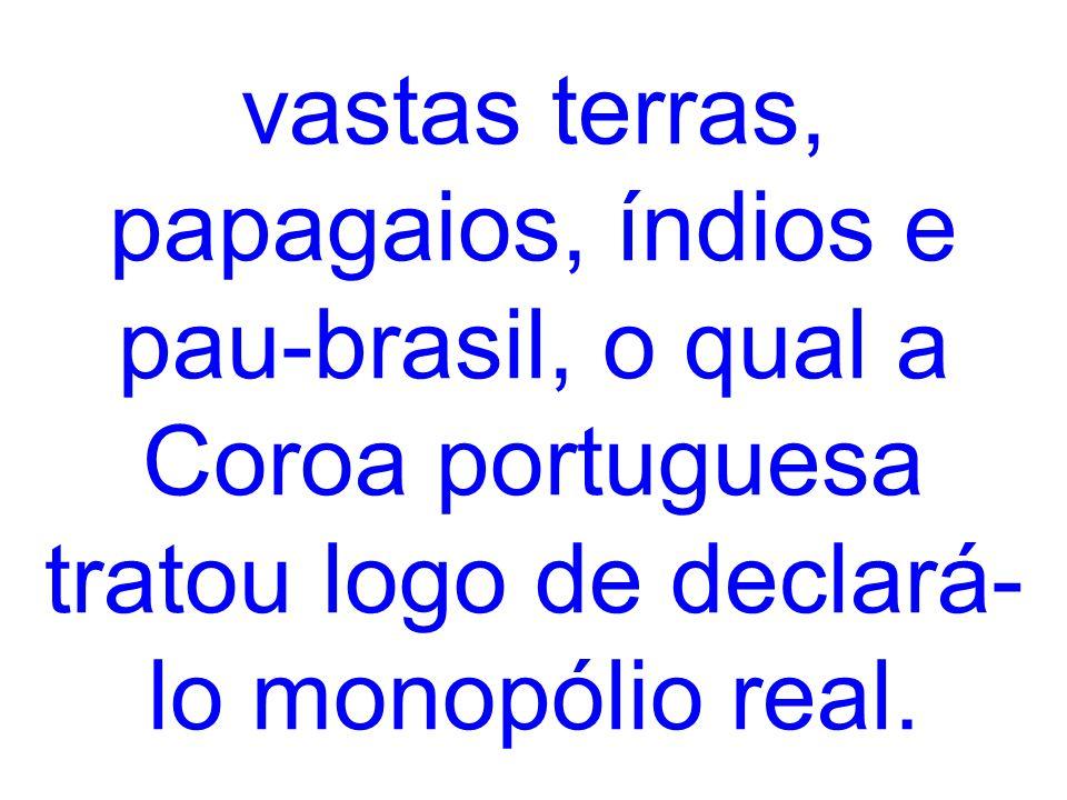 vastas terras, papagaios, índios e pau-brasil, o qual a Coroa portuguesa tratou logo de declará- lo monopólio real.