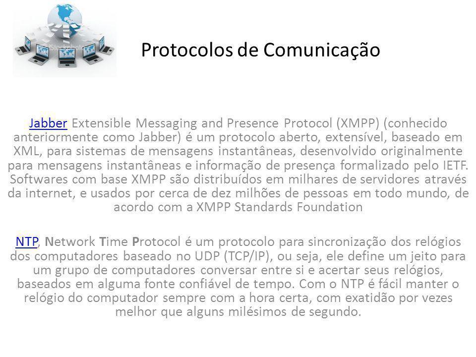 Protocolos de Comunicação JabberJabber Extensible Messaging and Presence Protocol (XMPP) (conhecido anteriormente como Jabber) é um protocolo aberto,