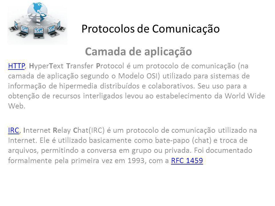 Protocolos de Comunicação Camada de aplicação HTTPHTTP, HyperText Transfer Protocol é um protocolo de comunicação (na camada de aplicação segundo o Mo