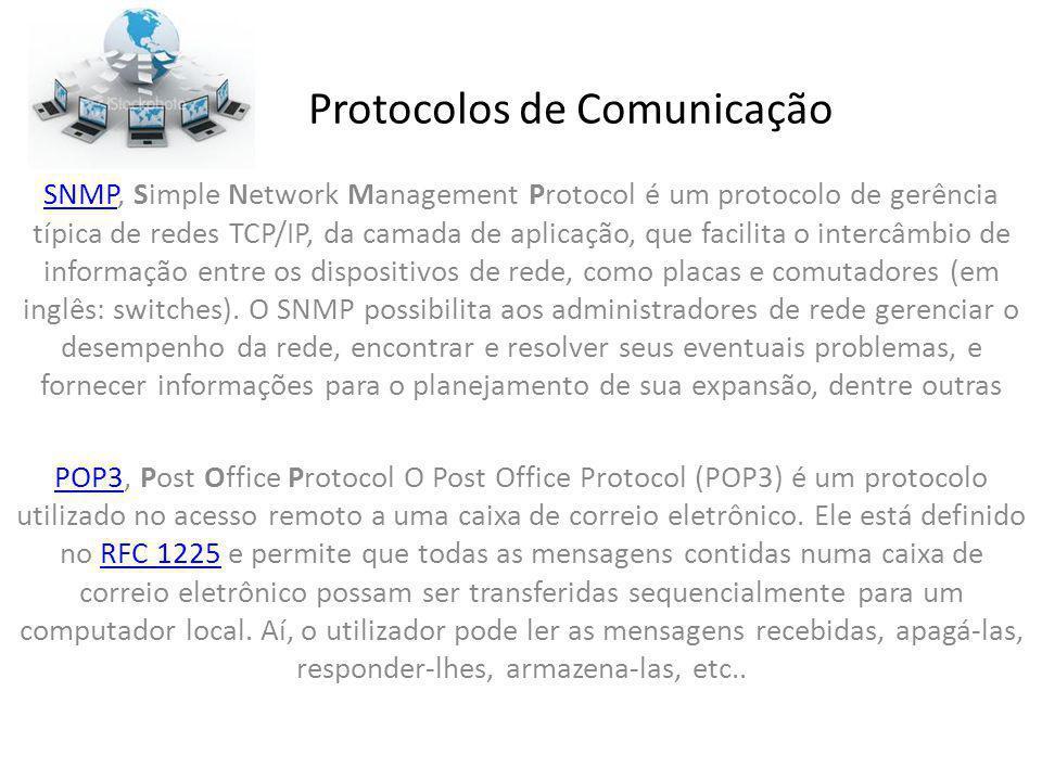 Protocolos de Comunicação SNMPSNMP, Simple Network Management Protocol é um protocolo de gerência típica de redes TCP/IP, da camada de aplicação, que