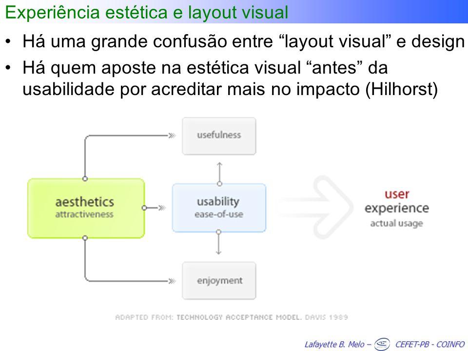 Lafayette B. Melo – CEFET-PB - COINFO Experiência estética e layout visual Há uma grande confusão entre layout visual e design Há quem aposte na estét