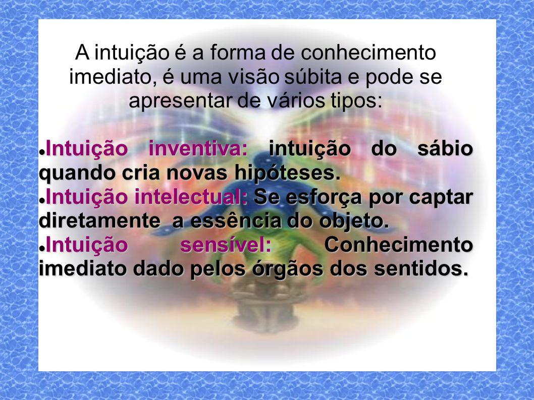 A intuição é a forma de conhecimento imediato, é uma visão súbita e pode se apresentar de vários tipos: Intuição inventiva: intuição do sábio quando cria novas hipóteses.