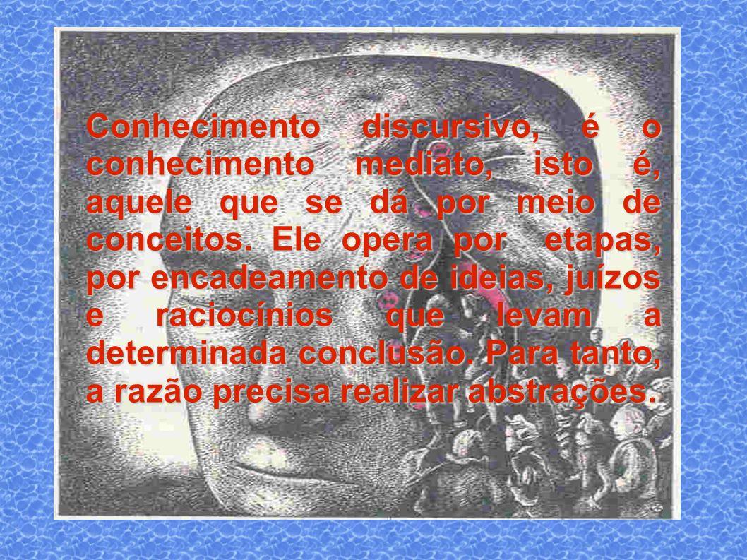 Conhecimento discursivo, é o conhecimento mediato, isto é, aquele que se dá por meio de conceitos.