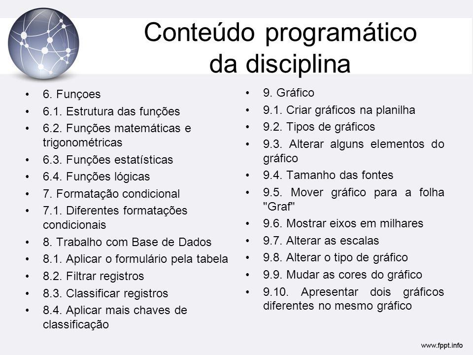 Conteúdo programático da disciplina 6. Funçoes 6.1. Estrutura das funções 6.2. Funções matemáticas e trigonométricas 6.3. Funções estatísticas 6.4. Fu