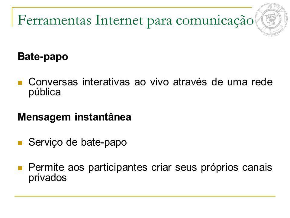 Ferramentas Internet para comunicação Bate-papo Conversas interativas ao vivo através de uma rede pública Mensagem instantânea Serviço de bate-papo Pe