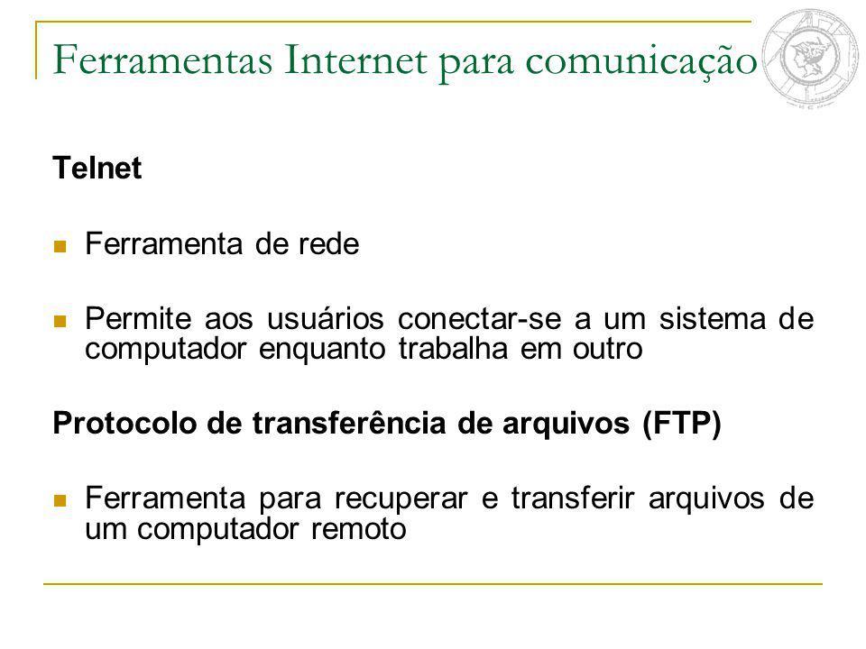 Telnet Ferramenta de rede Permite aos usuários conectar-se a um sistema de computador enquanto trabalha em outro Protocolo de transferência de arquivo