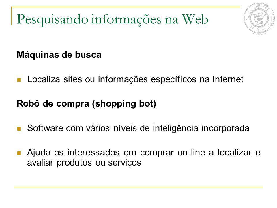 Pesquisando informações na Web Máquinas de busca Localiza sites ou informações específicos na Internet Robô de compra (shopping bot) Software com vári
