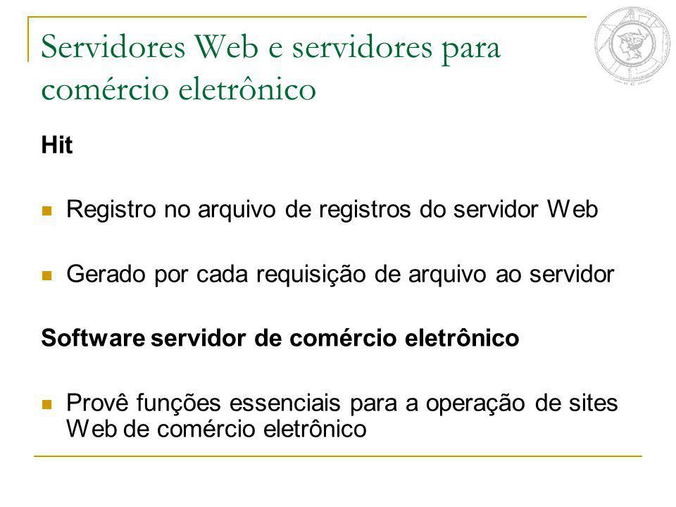Servidores Web e servidores para comércio eletrônico Hit Registro no arquivo de registros do servidor Web Gerado por cada requisição de arquivo ao ser