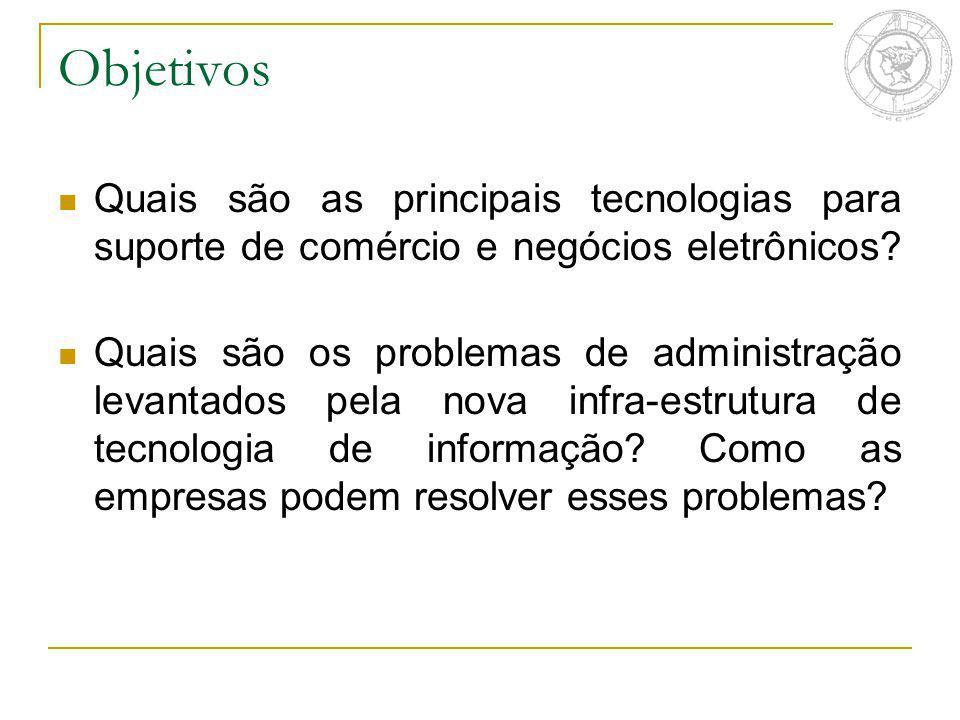 Objetivos Quais são as principais tecnologias para suporte de comércio e negócios eletrônicos? Quais são os problemas de administração levantados pela