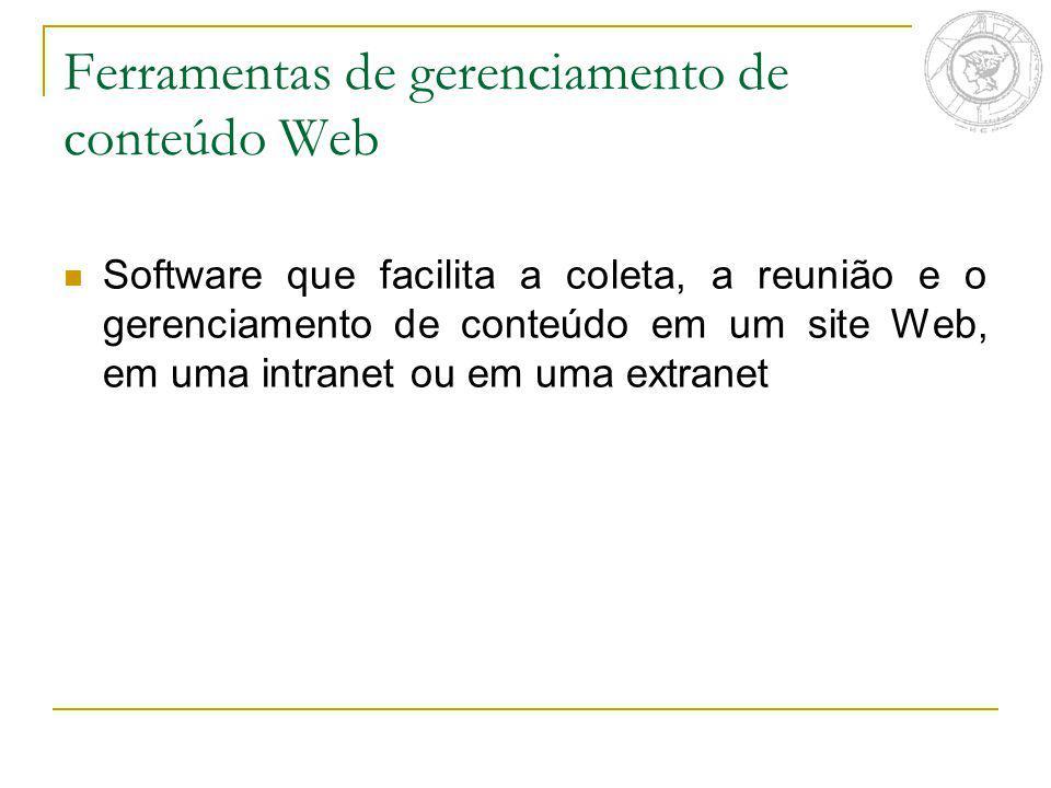 Ferramentas de gerenciamento de conteúdo Web Software que facilita a coleta, a reunião e o gerenciamento de conteúdo em um site Web, em uma intranet o