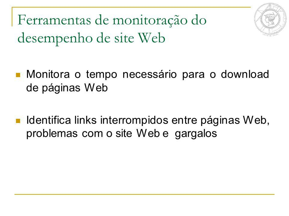 Ferramentas de monitoração do desempenho de site Web Monitora o tempo necessário para o download de páginas Web Identifica links interrompidos entre páginas Web, problemas com o site Web e gargalos