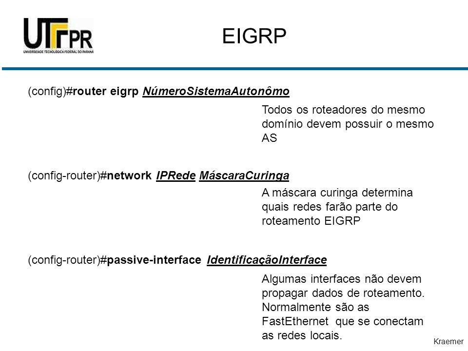 Kraemer EIGRP (config)#router eigrp NúmeroSistemaAutonômo (config-router)#network IPRede MáscaraCuringa (config-router)#passive-interface IdentificaçãoInterface Todos os roteadores do mesmo domínio devem possuir o mesmo AS A máscara curinga determina quais redes farão parte do roteamento EIGRP Algumas interfaces não devem propagar dados de roteamento.