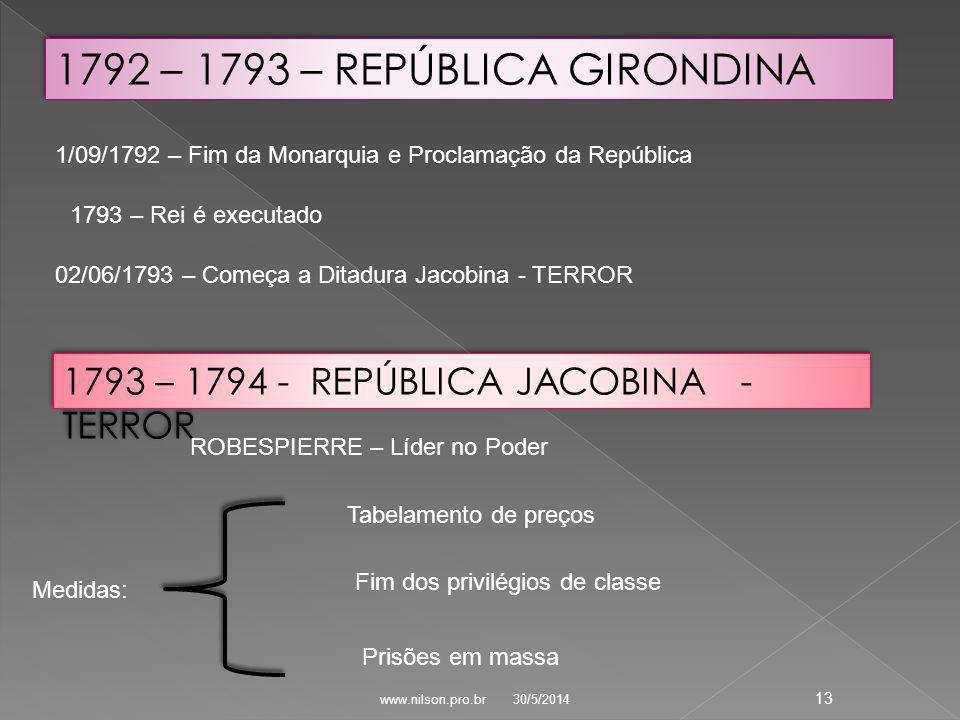 1/09/1792 – Fim da Monarquia e Proclamação da República 1793 – Rei é executado 02/06/1793 – Começa a Ditadura Jacobina - TERROR 1793 – 1794 - REPÚBLICA JACOBINA - TERROR Tabelamento de preços Fim dos privilégios de classe Prisões em massa 1792 – 1793 – REPÚBLICA GIRONDINA Medidas: ROBESPIERRE – Líder no Poder 30/5/2014 13 www.nilson.pro.br