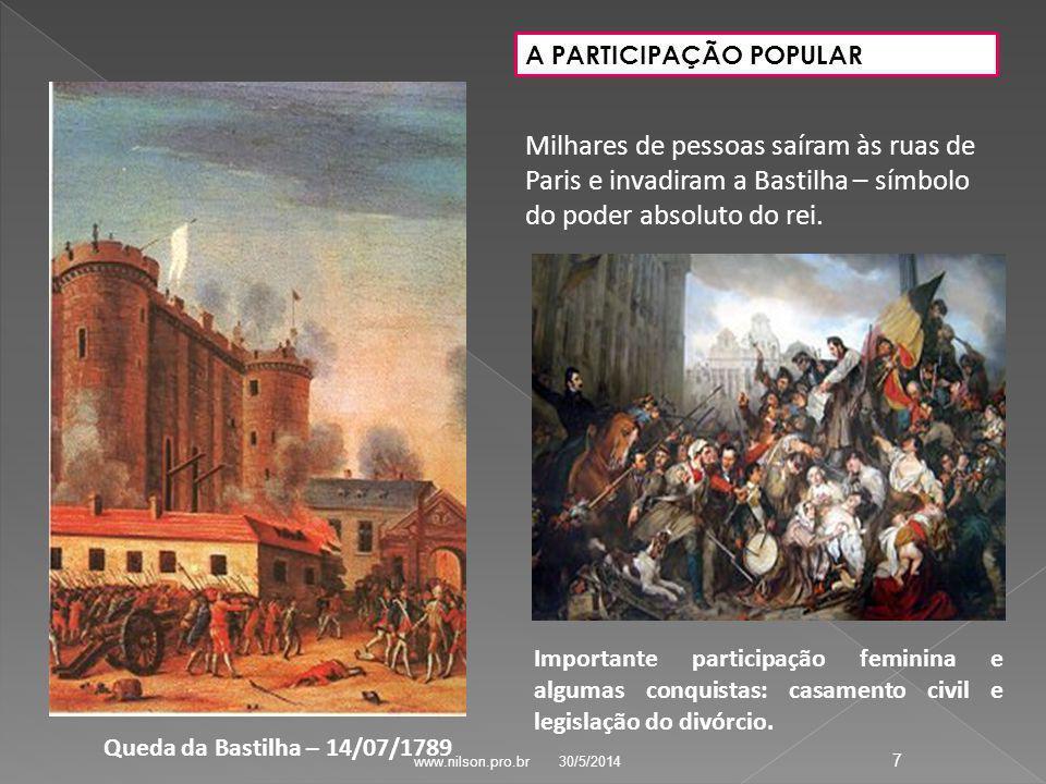 Queda da Bastilha – 14/07/1789 A PARTICIPAÇÃO POPULAR Milhares de pessoas saíram às ruas de Paris e invadiram a Bastilha – símbolo do poder absoluto do rei.