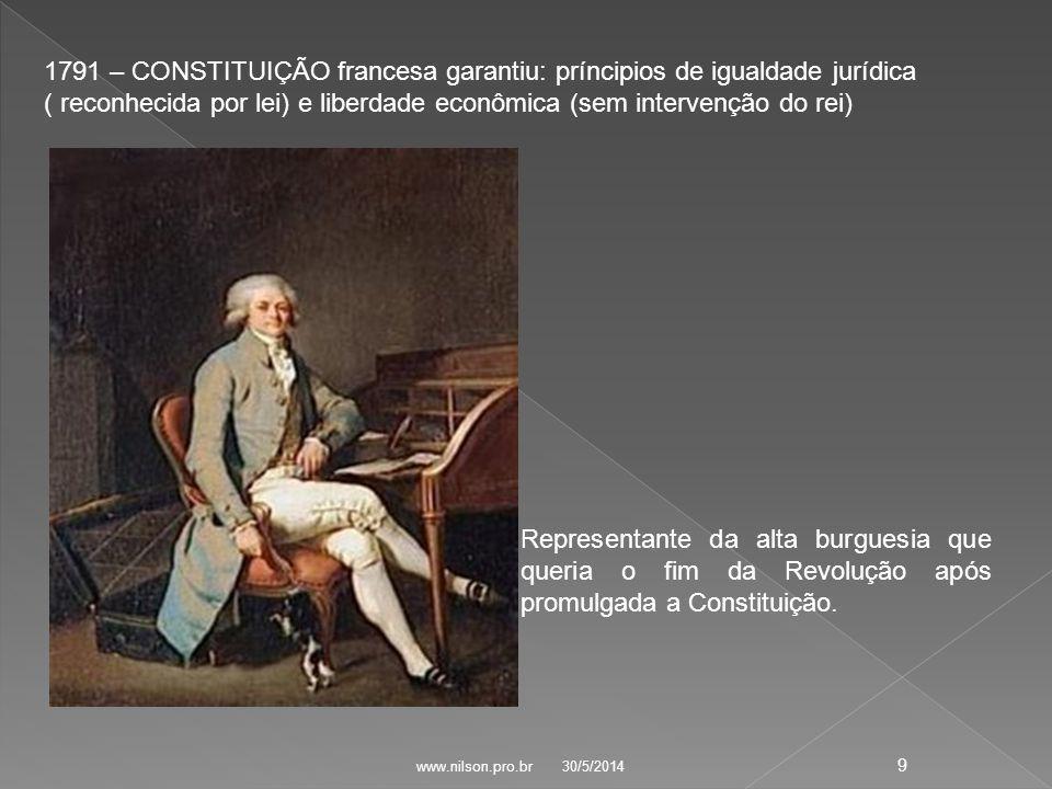 1791 – CONSTITUIÇÃO francesa garantiu: príncipios de igualdade jurídica ( reconhecida por lei) e liberdade econômica (sem intervenção do rei) Representante da alta burguesia que queria o fim da Revolução após promulgada a Constituição.