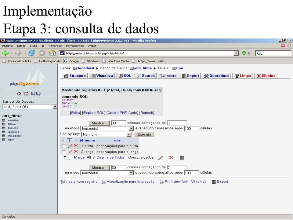 Implementação Etapa 3: consulta de dados