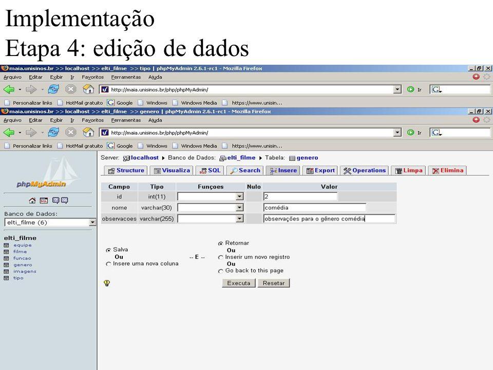 Implementação Etapa 4: edição de dados