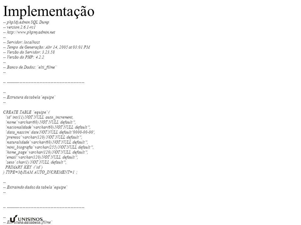 -- phpMyAdmin SQL Dump -- version 2.6.1-rc1 -- http://www.phpmyadmin.net -- -- Servidor: localhost -- Tempo de Generação: Abr 14, 2005 at 03:01 PM -- Versão do Servidor: 3.23.58 -- Versão do PHP: 4.2.2 -- -- Banco de Dados: `elti_filme` -- -- -------------------------------------------------------- -- -- Estrutura da tabela `equipe` -- CREATE TABLE `equipe` ( `id` int(11) NOT NULL auto_increment, `nome` varchar(60) NOT NULL default , `nacionalidade` varchar(60) NOT NULL default , `data_nascim` date NOT NULL default 0000-00-00 , `premios` varchar(120) NOT NULL default , `naturalidade` varchar(60) NOT NULL default , `mini_biografia` varchar(255) NOT NULL default , `home_page` varchar(120) NOT NULL default , `email` varchar(120) NOT NULL default , `sexo` char(1) NOT NULL default , PRIMARY KEY (`id`) ) TYPE=MyISAM AUTO_INCREMENT=1 ; -- -- Extraindo dados da tabela `equipe` -- -- -------------------------------------------------------- -- -- Estrutura da tabela `filme` -- CREATE TABLE `filme` ( `id` int(11) NOT NULL auto_increment, `nome` varchar(80) NOT NULL default , `tipo` int(11) NOT NULL default 0 , `ano` int(11) NOT NULL default 0 , `duracao` tinyint(4) NOT NULL default 0 , `produtora` int(11) NOT NULL default 0 , `diretor` int(11) NOT NULL default 0 , `site` varchar(160) NOT NULL default , `genero` int(11) NOT NULL default 0 , `roteirista` int(11) NOT NULL default 0 , `sinopse` varchar(255) NOT NULL default , `cartaz` int(11) NOT NULL default 0 , `fotos` int(11) NOT NULL default 0 , `curiosidades` varchar(200) NOT NULL default , `cenas` int(11) NOT NULL default 0 , `nota` float NOT NULL default 0 , `lancamento` date NOT NULL default 0000-00-00 , `professor_resp` int(11) NOT NULL default 0 , `classificacao` tinyint(4) NOT NULL default 0 , `justificativa` varchar(120) NOT NULL default , `origem` varchar(40) NOT NULL default , UNIQUE KEY `id` (`id`) ) TYPE=MyISAM AUTO_INCREMENT=1 ; -- -- Extraindo dados da tabela `filme` -- -- ----------------------------------------