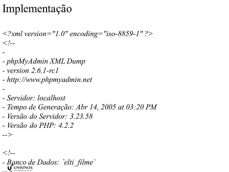 Implementação <!-- - - phpMyAdmin XML Dump - version 2.6.1-rc1 - http://www.phpmyadmin.net - - Servidor: localhost - Tempo de Generação: Abr 14, 2005 at 03:20 PM - Versão do Servidor: 3.23.58 - Versão do PHP: 4.2.2 --> <!-- - Banco de Dados: `elti_filme` --> 1 nome 1 nacionalidade 1 1990-05-05 nenhum nacionalidade 1 mini biografia de.....