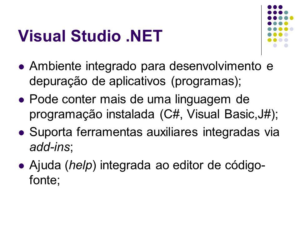 O Ambiente.NET A área de trabalho é organizada em 3 vistas (views); Soluções (de projetos) / ferramentas; Arquivos de código-fonte; Saídas / depuração;