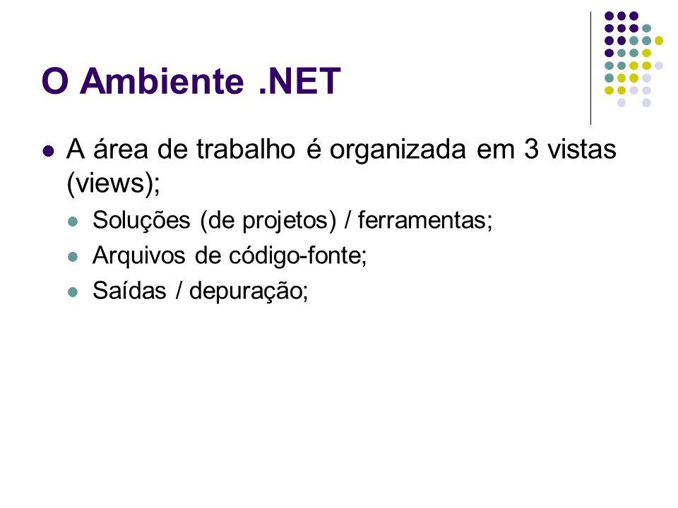 O Ambiente.NET A área de trabalho é organizada em 3 vistas (views); Soluções (de projetos) / ferramentas; Arquivos de código-fonte; Saídas / depuração